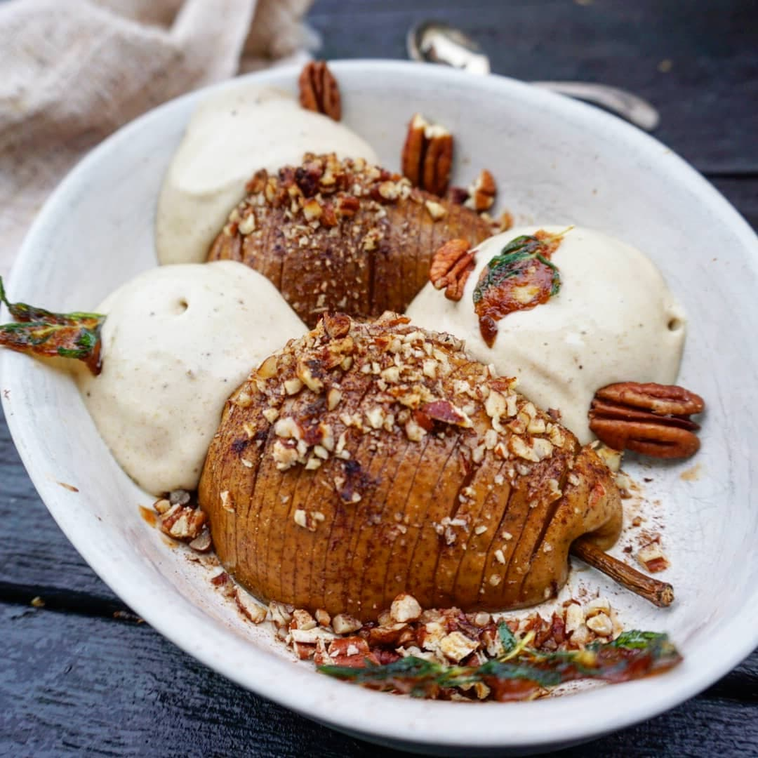 Hasselback Pear, Ginger Nicecream and Caramelised Rosemary