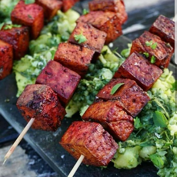 BBQ Beetroot Tofu with Herb Salad